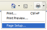 IE 7 Print Setting Button